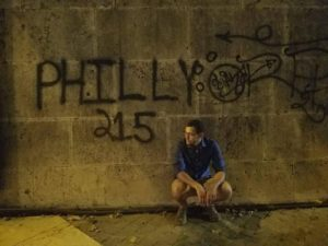 "Robin with Philly-style graffiti in Rome, ""Philly 215."""